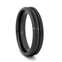 "STEEL REVOLTâ""¢ Comfort Fit 6mm Black High-Tech Ceramic Wedding Band with beveled edges and a center Groove"
