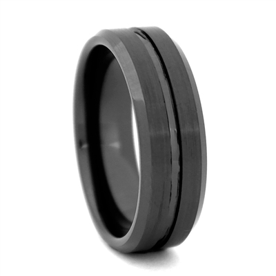"STEEL REVOLTâ""¢ Comfort Fit 8mm Black High-Tech Ceramic Wedding Band with beveled edges and a center Groove"
