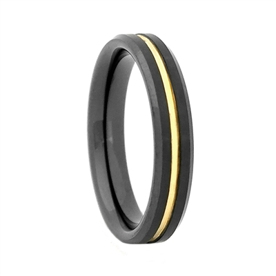 "STEEL REVOLTâ""¢ Comfort Fit 4mm Black High-Tech Ceramic Wedding Band with a Gold Color PVD Plated Groove"