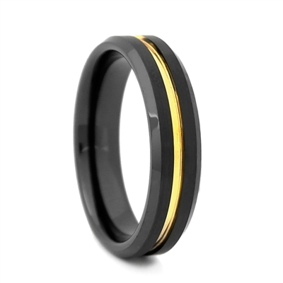 "STEEL REVOLTâ""¢ Comfort Fit 6mm Black High-Tech Ceramic Wedding Band with a Gold Color PVD Plated Groove"