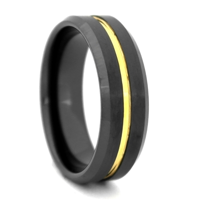 "STEEL REVOLTâ""¢ Comfort Fit 8mm Black High-Tech Ceramic Wedding Band with a Gold Color PVD Plated Groove"