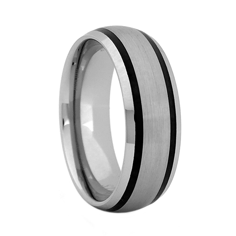 10612be01b1 Comfort Fit Domed 8mm Tungsten Carbide Wedding Ring with Two Black ...