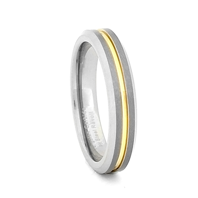 "STEEL REVOLTâ""¢ Two Tone 4mm Band With a Gold Color Groove"