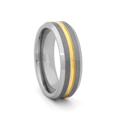 "STEEL REVOLTâ""¢ Two Tone 7mm Band With a Gold Color Groove"