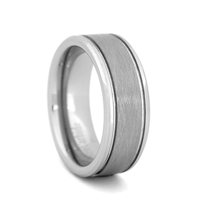 "STEEL REVOLTâ""¢  Wedding Band with beveled edges and Meteorite-Look Center"