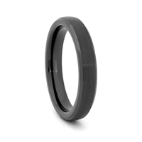 "STEEL REVOLTâ""¢ Comfort Fit 4mm Black High-Tech Ceramic Wedding Band with High Polish Edges"