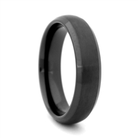 "STEEL REVOLTâ""¢ Comfort Fit Domed 8mm Black High-Tech Ceramic Wedding Band with Satin Finish and High Polish Edges"