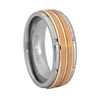 "STEEL REVOLTâ""¢ Comfort Fit 8mm Modern Design Tungsten Carbide Wedding Band with a Rose Gold Color PVD Plated Center"
