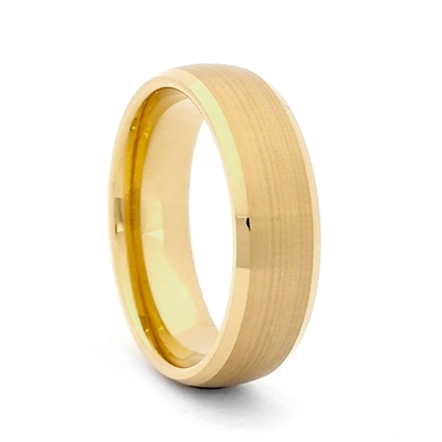"STEEL REVOLTâ""¢ 8mm Gold Plated Tungsten Carbide Wedding Band"