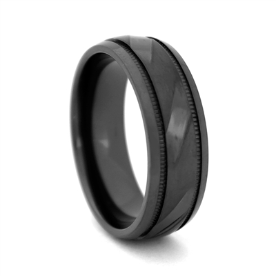 "STEEL REVOLTâ""¢  8mm Matte Black Zirconium Ring with Angle Cut Design"