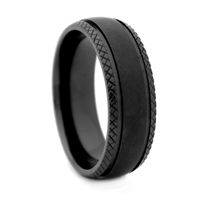 "STEEL REVOLTâ""¢ 8mm Matte Black Zirconium Ring with Criss-Cross Brush Pattern in the Center and Deep Criss-Cross Edges"