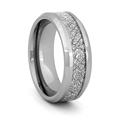 "STEEL REVOLTâ""¢ Comfort Fit Tungsten Carbide Wedding Ring with Beveled Edges and  Meteorite-Look Inlay"