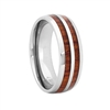 "STEEL REVOLTâ""¢ Comfort Fit Domed Tungsten Carbide Wedding Ring with Double Line Koa Wood Inlay"
