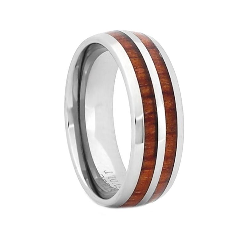 Anniversary Man 8mm Silver Tungsten Carbide Ring Koa Wood Abalone Inlay Dome Wedding Band Woman Reg 499.95 Engagement Wedding