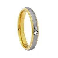 "STEEL REVOLTâ""¢ Two Tone 4mm Band with Cubic Zirconia"