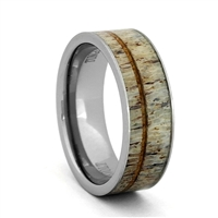 "STEEL REVOLTâ""¢ Comfort Fit Tungsten Carbide Wedding Ring with Antler and Koa Wood Inlay"