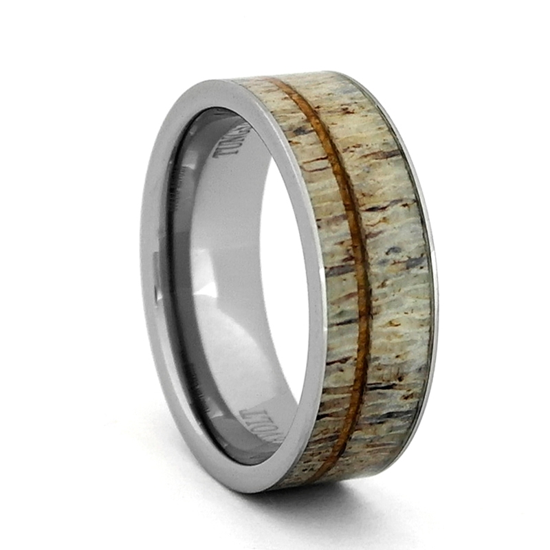 8mm Comfort Fit Tungsten Carbide Wedding Ring With Antler And Koa