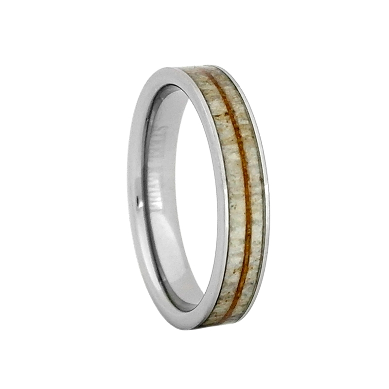4mm Comfort Fit Tungsten Carbide Wedding Ring With Antler And Koa