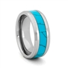 "STEEL REVOLTâ""¢ Comfort Fit Tungsten Carbide Wedding Ring with Beveled Edges and Turquoise Inlay"