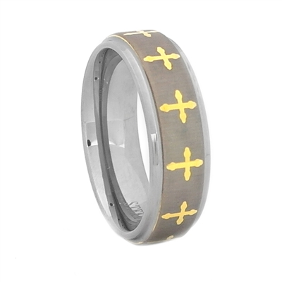 "STEEL REVOLTâ""¢  Wedding Band with Laser Engraved Crosses and Gold PVD Plating"