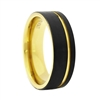 "STEEL REVOLTâ""¢ Comfort Fit 8mm Black Tungsten Carbide Wedding Band with Gold Color PVD Plated Interior  and Off-Center Groove"