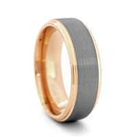 "STEEL REVOLTâ""¢ Comfort Fit 8mm Tungsten Carbide Brushed Finish Wedding Band with Rose Gold Color PVD Plated Sides and Interior"