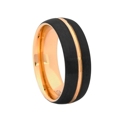 "STEEL REVOLTâ""¢ Comfort Fit Domed 8mm Black Tungsten Carbide Wedding Band with Rose Gold Color PVD Plated Interior and Center Groove"