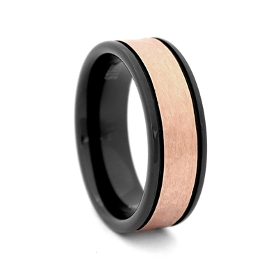 "STEEL REVOLTâ""¢ Comfort Fit 8mm Black Tungsten Carbide Wedding Band with Two Grooves and Rose Gold Color PVD Plated Hammered Look Center"