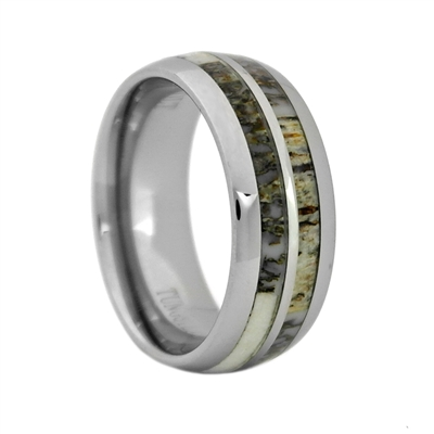 "STEEL REVOLTâ""¢ Comfort Fit Domed Tungsten Carbide Wedding Ring with Antler Inlay"