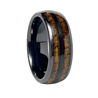 "STEEL REVOLTâ""¢ Comfort Fit Black High-Tech Ceramic Wedding Ring with a Tobacco leaf Inlay"