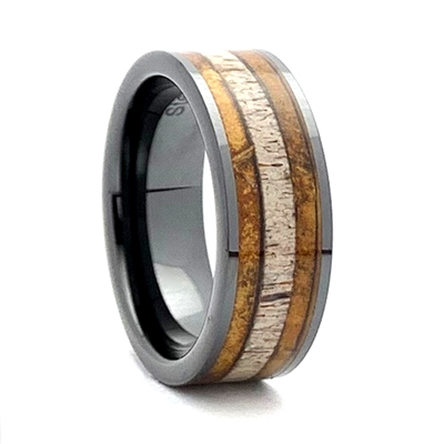 "STEEL REVOLTâ""¢ Comfort Fit Black High-Tech Ceramic Wedding Ring with Antler and Cigar Leaf Inlay"