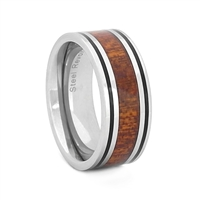 "STEEL REVOLTâ""¢ Comfort Fit Tungsten Carbide Wedding Ring with Koa Wood Inlay"
