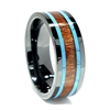 "STEEL REVOLTâ""¢ Comfort Fit High-Tech Ceramic Wedding Ring with Koa Wood and Turquoise Inlay"