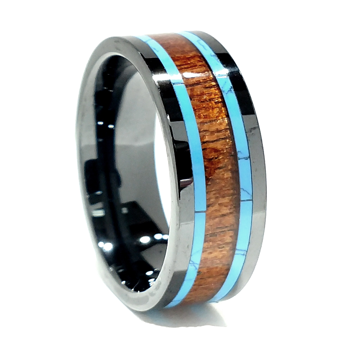 10mm Comfort Fit High Tech Ceramic Wedding Ring With Koa Wood And