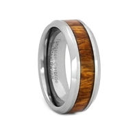 "STEEL REVOLTâ""¢ Comfort Fit Tungsten Carbide Wedding Ring with Beveled Edges and Koa Wood Inlay"