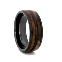 "STEEL REVOLTâ""¢ Comfort Fit 8mm High-Tech Ceramic Wedding Ring With Genuine Wood from M1 Garand Rifle"