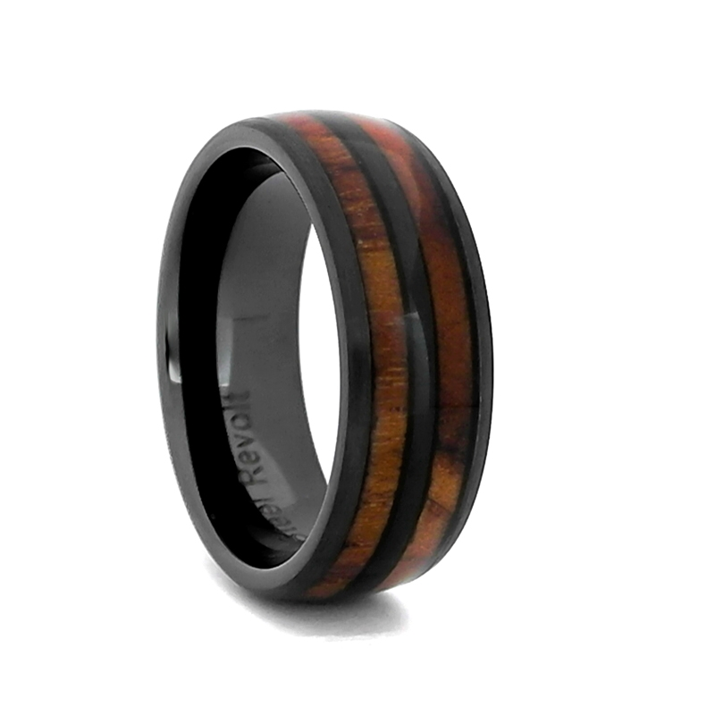 Comfort Fit 8mm High Tech Ceramic Wedding Ring With Genuine Wood