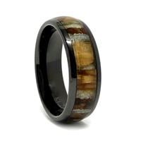 "STEEL REVOLTâ""¢ Comfort Fit 8mm High-Tech Ceramic Wedding Ring With Genuine Mammoth Tooth Inlay"