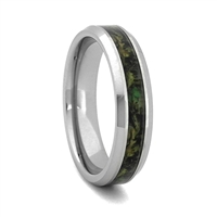 "STEEL REVOLTâ""¢ Comfort Fit Tungsten Carbide Wedding Ring with High Polish Beveled Edges and Camouflage Inlay"