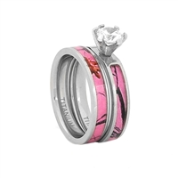 "STEEL REVOLTâ""¢ Comfort Fit 8mm Women's Titanium Wedding Set With Pink Camouflage Inlay and CZ"