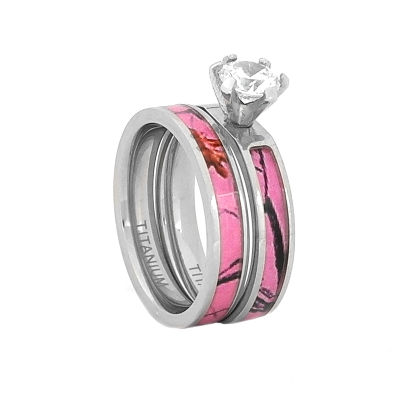 Comfort Fit 8mm Women S Titanium Wedding Set With Pink Camouflage