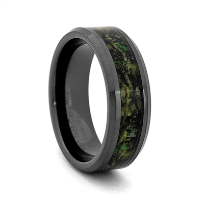 "STEEL REVOLTâ""¢ Comfort Fit High-Tech Ceramic Wedding Ring with High Polish Beveled Edges and Camouflage Inlay"