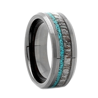 "STEEL REVOLTâ""¢ Comfort Fit Black High-Tech Ceramic Wedding Ring with Antler and Turquoise Inlay"