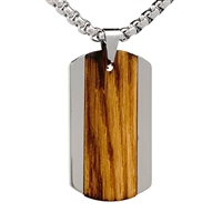 "STEEL REVOLTâ""¢ Tungsten Necklace with Wood from a Genuine Jack Daniels Whiskey Barrel"
