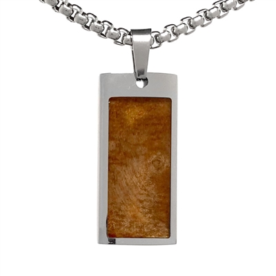 "STEEL REVOLTâ""¢ Stainless Steel Necklace with Wood from a Genuine Jack Daniels Whiskey Barrel"