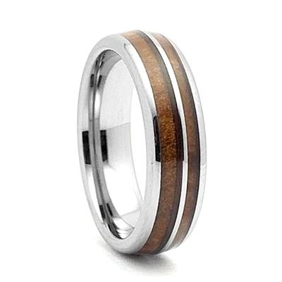 Wood Inlay Dark Walnut Tungsten Carbide Cross Pendant ON 3MM Stainless Steel
