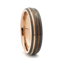 "STEEL REVOLTâ""¢ Comfort Fit Domed Tungsten Carbide Wedding Ring with Rose Gold Color Accents and Wood from Genuine Jack Daniels Whiskey Barrel"