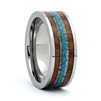 "STEEL REVOLTâ""¢ Comfort Fit Tungsten Carbide Wedding Ring with Antler, Turquoise, and Genuine Jack Daniels Whiskey Barrel Wood Inlay"