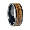 "STEEL REVOLTâ""¢ Comfort Fit Black High-Tech Ceramic Wedding Ring with a Tobacco leaf and Genuine Jack Daniels Whiskey Barrel Wood Inlay"