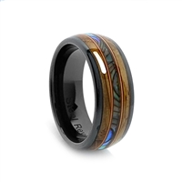 "STEEL REVOLTâ""¢ Comfort Fit Black High-Tech Ceramic Wedding Ring with a Genuine Jack Daniels Whiskey Barrel Wood, Mother of Pearl, and Guitar String"